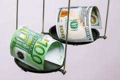 Die Banknoten des Dollars und des Euros auf der Skala Stockbilder