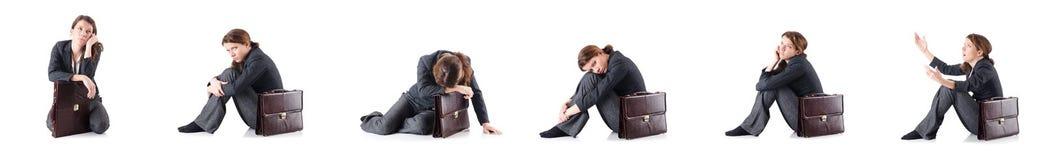 Die bankrotte Geschäftsfrau lokalisiert auf Weiß Lizenzfreies Stockfoto