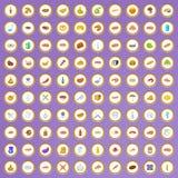 100 die barbecuepictogrammen in beeldverhaalstijl worden geplaatst vector illustratie