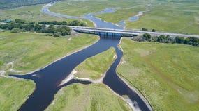 Die Beachline-Schnellstraßenbrücke über dem St Johns River Stockfotografie