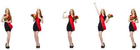 Die beaty Königin am Wettbewerb mit Blumen lizenzfreie stockfotos