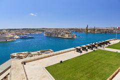 Die begrüssenbatterie, oberes Barracca, Malta Lizenzfreies Stockfoto