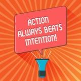 Die Begriffshandschrift, die Aktion schlägt zeigt immer, Absicht Die verwirklichte Geschäftsfotopräsentation lassen es geschehen  stock abbildung