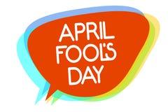 Die Begriffshandschrift, die April Fool s zeigt, ist Tag Das Geschäftsfoto, das praktische Witze zur Schau stellt, geben Streiche lizenzfreie abbildung
