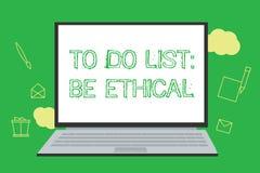 Die Begriffshandschrift, die darstellt, um Liste zu tun, ist ethisch Präsentationsplan oder Anzeige des Geschäftsfotos, die in au lizenzfreie abbildung