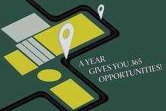 Die Begriffshandschrift, die ein Jahr zeigt, gibt Ihre 365 Gelegenheiten Neue neue Motivation Anfangs des Geschäftsfototextes vektor abbildung