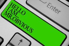 Die Begriffshandschrift, die hallo bin mich zeigt Herr offensichtlich Geschäftsfoto, das als pouplar oder berühmtes perso vorstel stockfoto