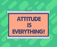 Die Begriffshandschrift, die Haltung zeigt, ist alles Präsentationsverständnis des Geschäftsfotos überzeugt unsere Haltung stock abbildung