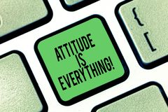 Die Begriffshandschrift, die Haltung zeigt, ist alles Präsentationsverständnis des Geschäftsfotos überzeugt unsere Haltung lizenzfreie abbildung