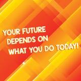Die Begriffshandschrift, die Ihre Zukunft zeigt, hängt von ab, was Sie heute tun Die Geschäftsfotopräsentation machen die guten T stockbilder