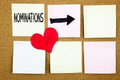Die Begriffshandschrifttext-Titelinspiration, die Nominierungskonzept für Wahl zeigt, ernennen die Nominierung und Liebe, die an  Lizenzfreie Stockbilder