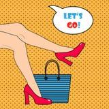Die Beine der Pop-Arten-Frau Auch im corel abgehobenen Betrag Lizenzfreie Stockfotos