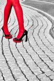 Die Beine der städtischen Frauen der Mode, Fersen Schwarzes Weiß, rot Lizenzfreies Stockfoto