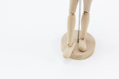 Die Beine eines hölzernen Mannequins Stockbilder