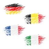 Die belgische, deutsche, französische und italienische Flagge in den Streifen, stellte Schmutzflaggen ein Lizenzfreies Stockfoto