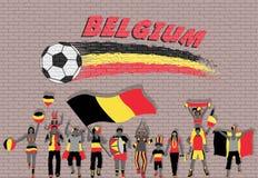 Die belgischen Fußballfane, die mit Belgien zujubeln, kennzeichnen Farben in der Front stock abbildung