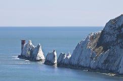 Die berühmte Insel der Wightnadeln stockbilder