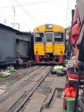 Die berühmten Bahnmärkte bei Maeklong, Thailand Lizenzfreies Stockfoto