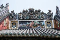 Die berühmten Touristenattraktionen in ererbter Halle Guangzhou-Stadt Chinese-Chens, auf dem Dach mit Kalkgießverfahren und Shiwa Stockfoto