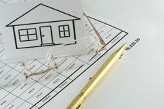 Die Berechnung der Hypothek lizenzfreies stockbild