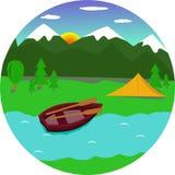 Die Berge, das Boot und der Fluss Vektor