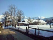 Die Berge Megeve, Frankreich lizenzfreie stockfotos