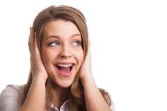 Die überraschte aufgeregte schreiende Frau überraschte in der Freude Stockbilder