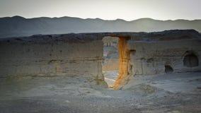 Die Überreste von Jiaohe durch Sonnenuntergang Lizenzfreie Stockbilder