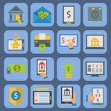 Die bestätigten Online-Zahlungs-Methoden finanzieren das Zahlen der beweglichen Bankwesenarbeitsplatz-Vektorillustration in der f Lizenzfreies Stockfoto
