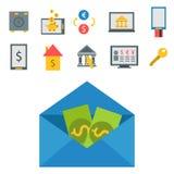 Die bestätigten Online-Zahlungs-Methoden finanzieren das Zahlen der beweglichen Bankwesenarbeitsplatz-Vektorillustration in der f Lizenzfreie Stockfotos