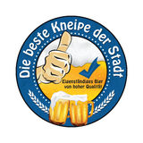 Die beste Kneipe der Stadt: German Beer Advertising label. Die beste Kneipe der Stadt: German Beer Advertising The best pub in the city, high quality bear Royalty Free Stock Photo
