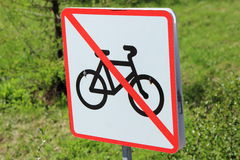 Die Bewegung von Fahrrädern wird verboten Lizenzfreie Stockbilder