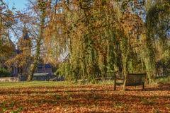 Die bezaubernde Schönheit des Herbstparks mit einem historischen Schloss am Hintergrund Stockbilder