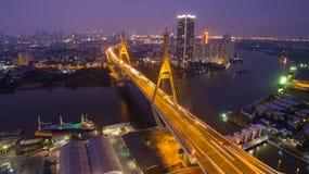 Die Bhumibol-Brücke industrieller Ring Road Bridge Lizenzfreie Stockfotografie