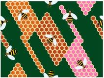 Die Bienen, die auf den bunten Bienenstöcken klettern vektor abbildung
