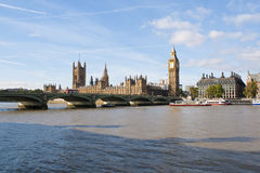 Die Big- Benund Westminster-Brücke in London Stockbilder