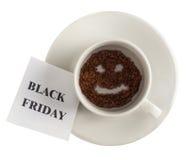 Die Black Friday-Aufschrift auf einem Blatt Papier Lizenzfreie Stockfotos