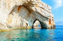Die Blau-Höhlen in Zakynthos (Griechenland) Stockbilder
