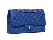 Die blaue Lederhandtasche der Frauen Lizenzfreies Stockfoto