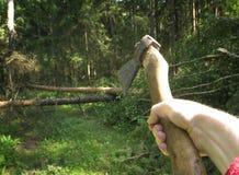 Die Blockwinde in einem roten karierten Hemd hält eine Axt gegen den Wald Lizenzfreies Stockbild