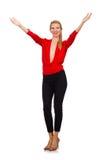 Die blonde kaukasische Frau in der roten Bluse lokalisiert auf Weiß Stockfotografie
