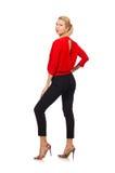 Die blonde kaukasische Frau in der roten Bluse lokalisiert auf Weiß Stockfotos