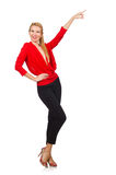 Die blonde kaukasische Frau in der roten Bluse lokalisiert auf Weiß Lizenzfreie Stockbilder