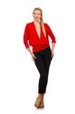 Die blonde kaukasische Frau in der roten Bluse lokalisiert auf Weiß Stockfoto