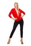 Die blonde kaukasische Frau in der roten Bluse lokalisiert auf Weiß Lizenzfreies Stockfoto