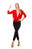 Die blonde kaukasische Frau in der roten Bluse lokalisiert auf Weiß Stockbilder
