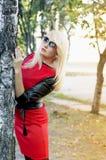 Die Blondine in einem roten Kleid umfasst einen Baum im Fall Stockfotos