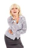 Die Blondine mit einem Finger Stockfotos