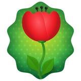 Die Blume der Tulpe 3d, die auf Grün lokalisiert wurde, punktierte Hintergrundvektorillustration Stockfotografie