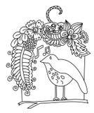 Die Blumen, die Vogel umgeben, und der Vogel singt ein Lied Stockfotografie